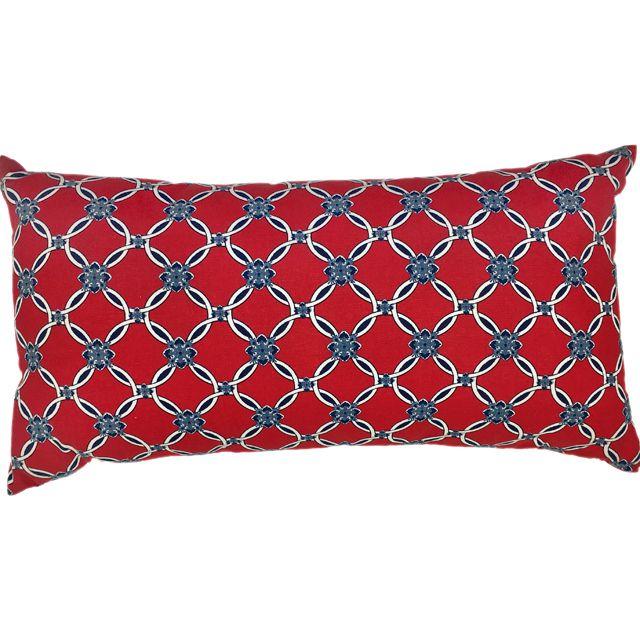 Almofada Retangular Estampada em Azul e Vermelho