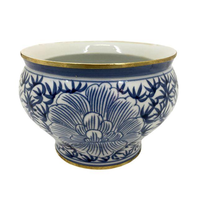 Cachepot Cerâmica Azul e Branco