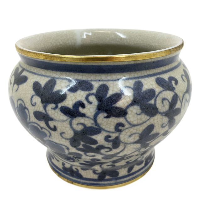 Cachepot Cerâmica P Azul e Branco