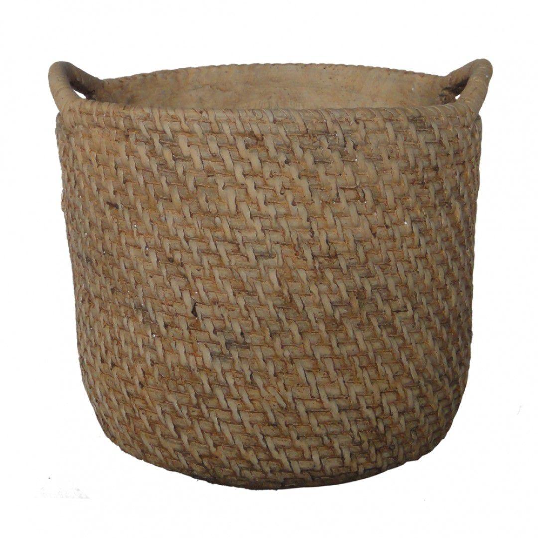 Cachepot em cimento modelo fibra natural