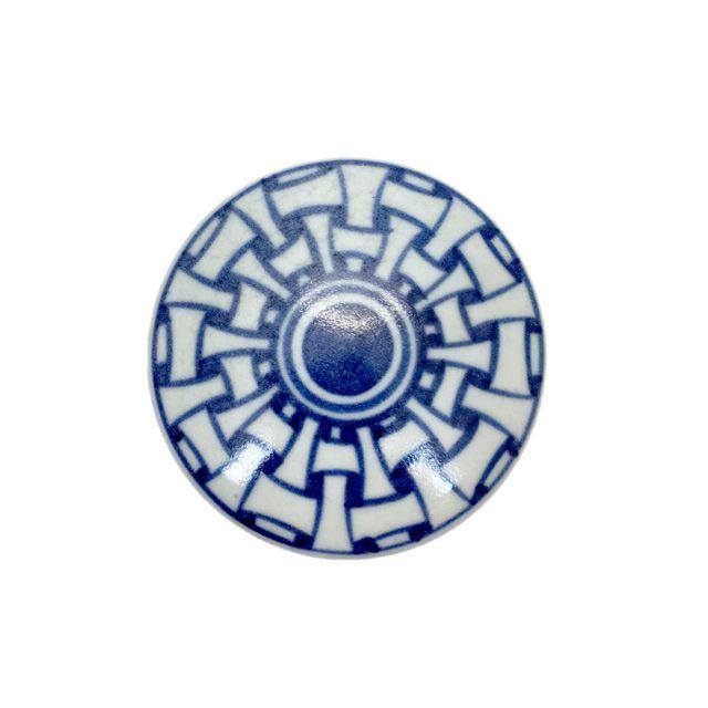 Caixa de Cerâmica Azul e Branca
