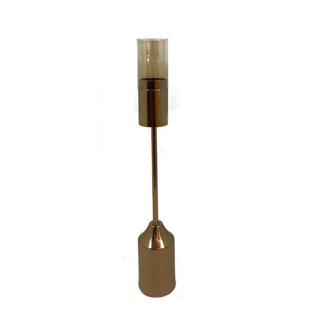 Castiçal em Metal Dourado G
