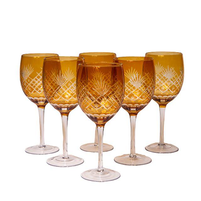 Conjunto de 6 Taças  em Vidro Lapidado Âmbar