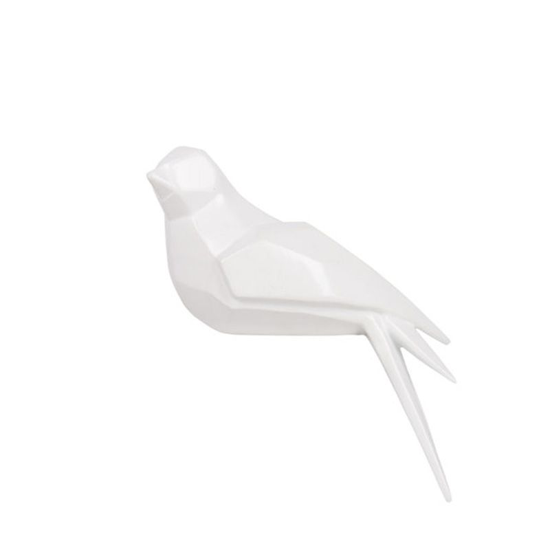 Escultura Pássaro na Prateleira  Branca