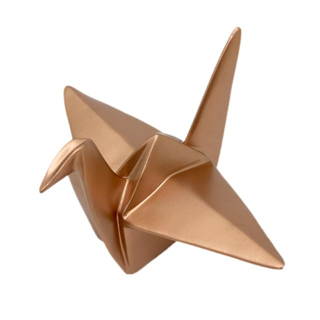 Escultura Pássaro Origami Cobre