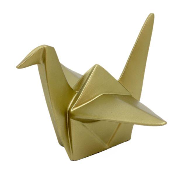 Escultura Pássaro Origami Dourado