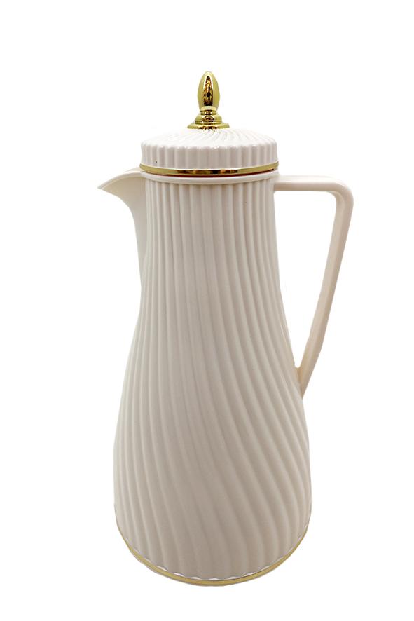 Garrafa Térmica de Café Off-White e Dourado