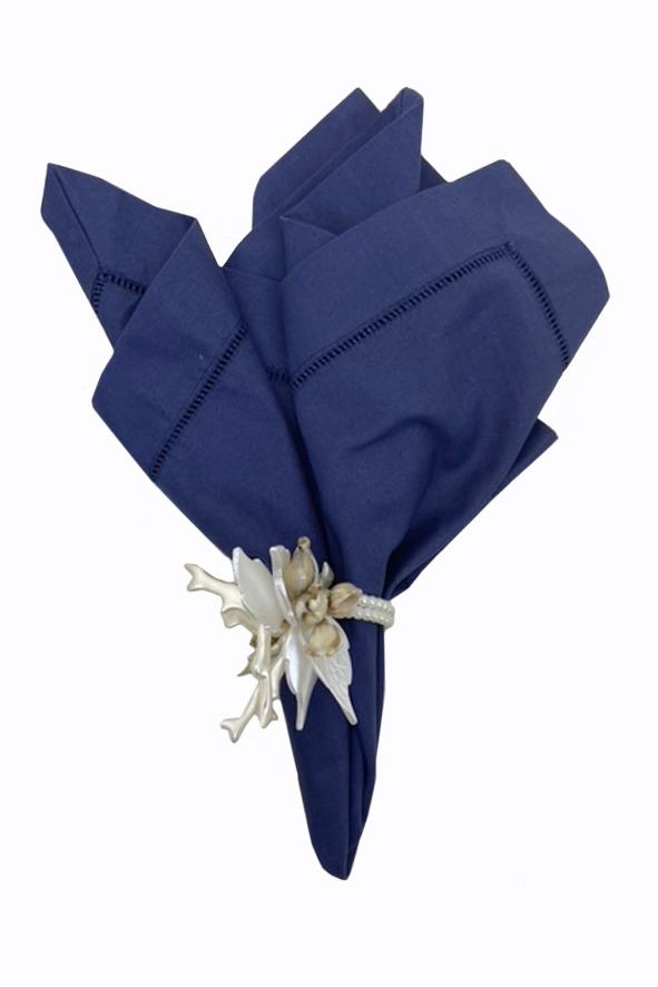 Jogo 6 Guardanapos Linen Azul Marinho
