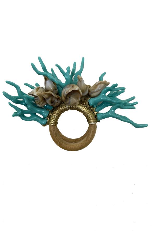 Jogo 8 Argolas de Guardanapos Coral Azul Turquesa