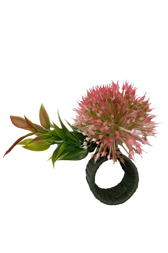 Jogo 8 Argolas de Guardanapos Flor de Alho Rosa