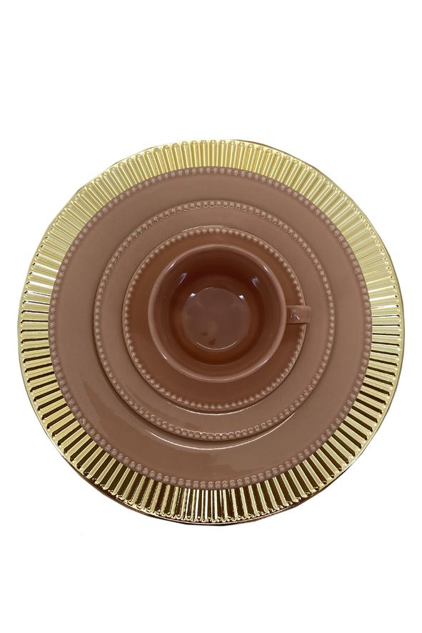 Jogo 6 Sousplats  em  PVC Dourado