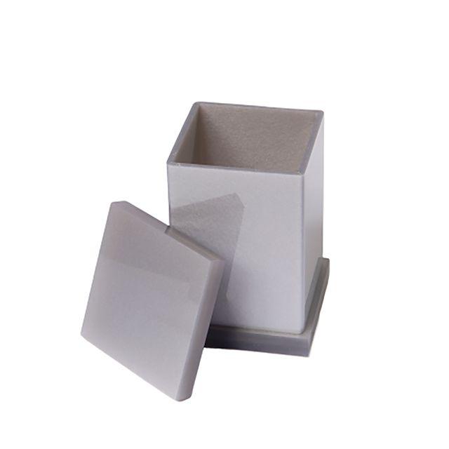 Porta Cotonete Decor em Acrílico Cinza