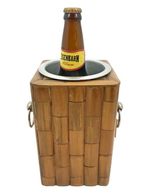 Porta Garrafa em Metal revestido em Bambu Natural