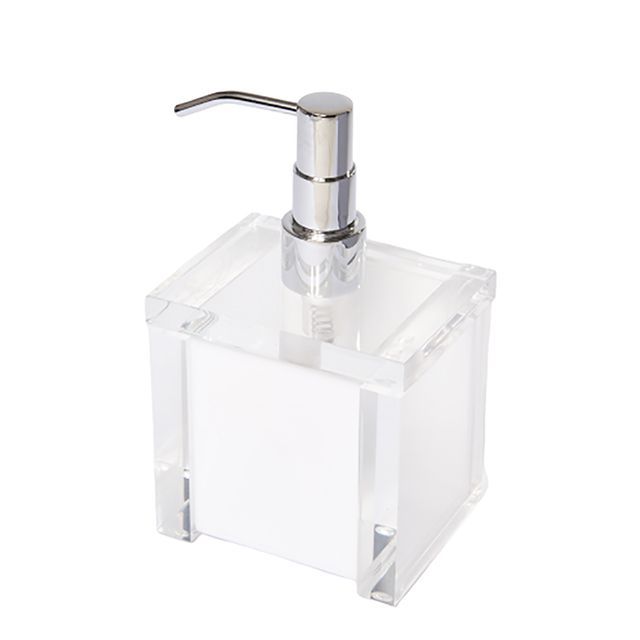 Porta Sabonete Liquido em Acrílico Branco/ Transparente
