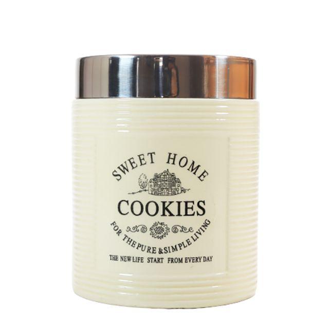 Pote de Cerâmica com Tampa em inox para Cookies 770ML
