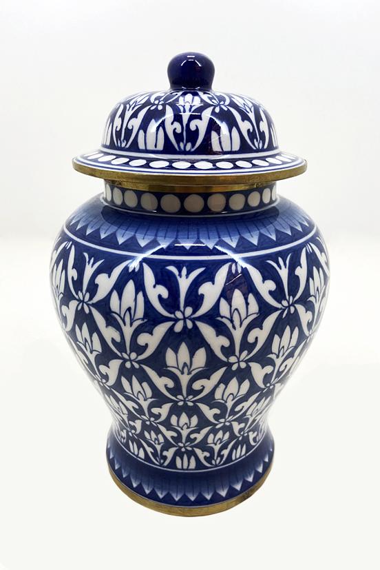 Pote Decorativo em Porcelana Azul E Branco