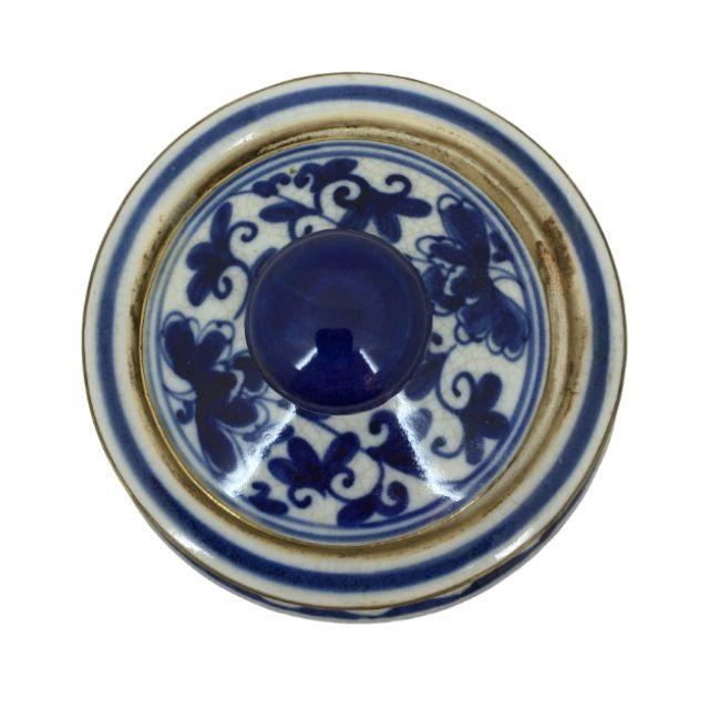 Pote em Cerâmica Azul e Branco