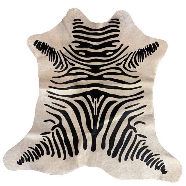 Tapete em Pele de Boi Serigrafado Fundo Bege -  Zebra