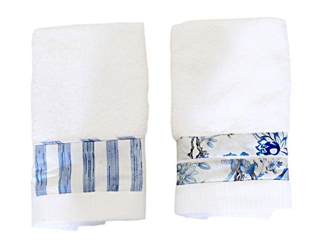 Toalha Lavabo Listras Azuis | Blue Gardênia