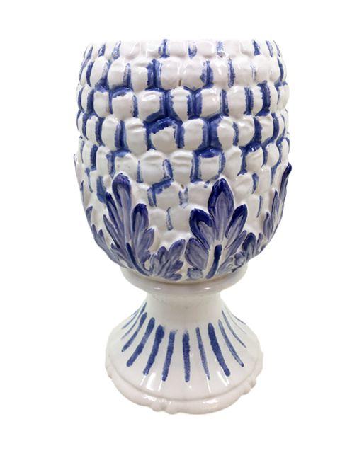 Vaso  em Cerâmica Branca Abacaxi com pintura Azul