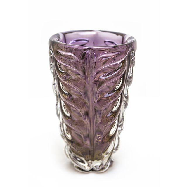 Vaso de Murano Violeta com Ouro