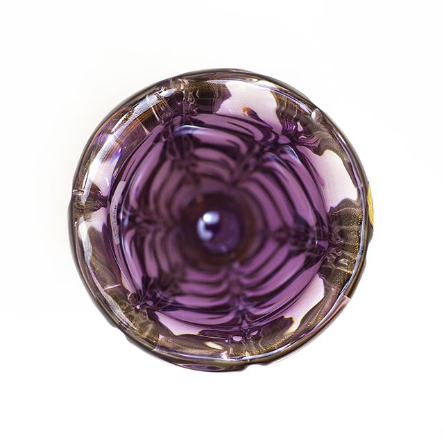 Vaso de Murano Violeta com Ouro  Di Murano