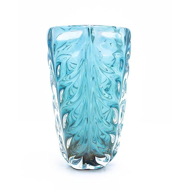 Vaso Murano com Ouro Cor Aquamarine