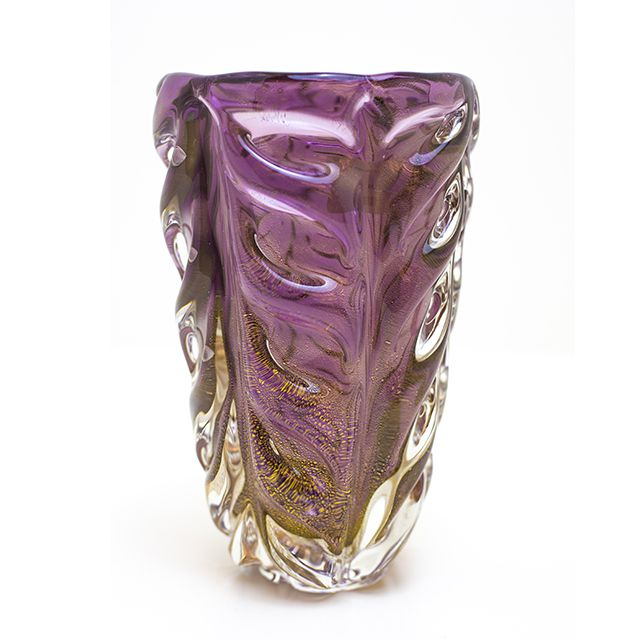 Vaso de Murano Violeta com Ouro| Di Murano