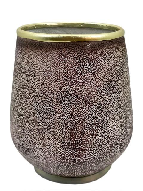Vaso Tipo Galuchat Vinho E Dourado