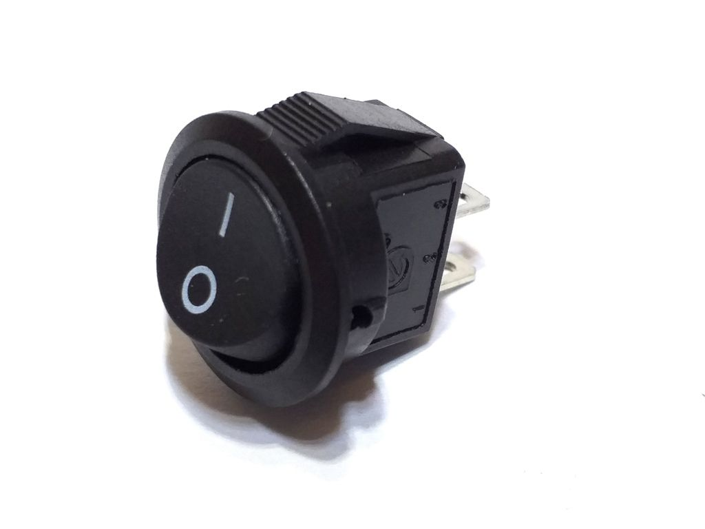 100 Chave Tic Tac Redonda Preta MINI On/Off 2 Pos 2 Term KDC