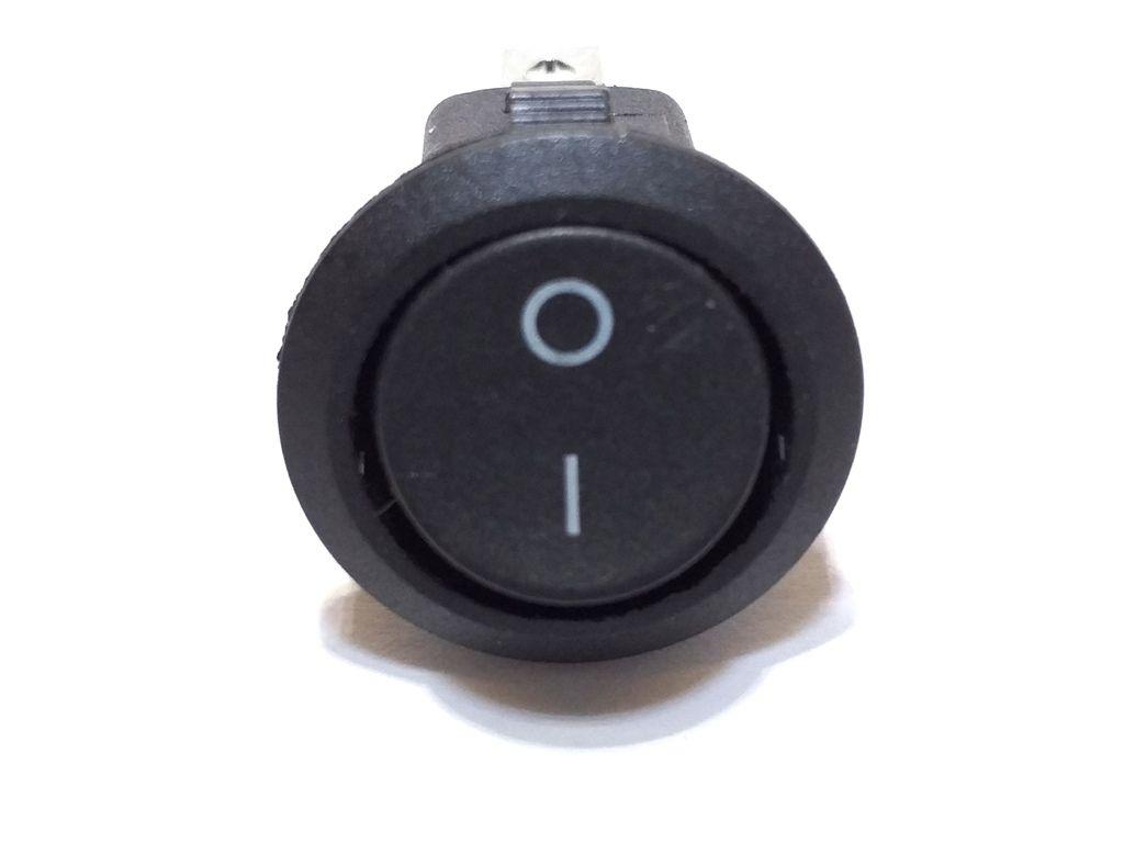 10 Chave Tic Tac Redonda Preta On/Off 2 Posições 2 Terminais