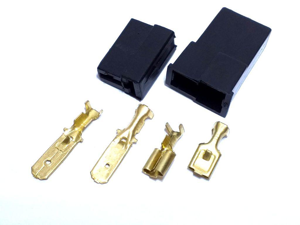 10 Conjunto Conector 2 Vias Preto Terminais de 6,3mm Plug