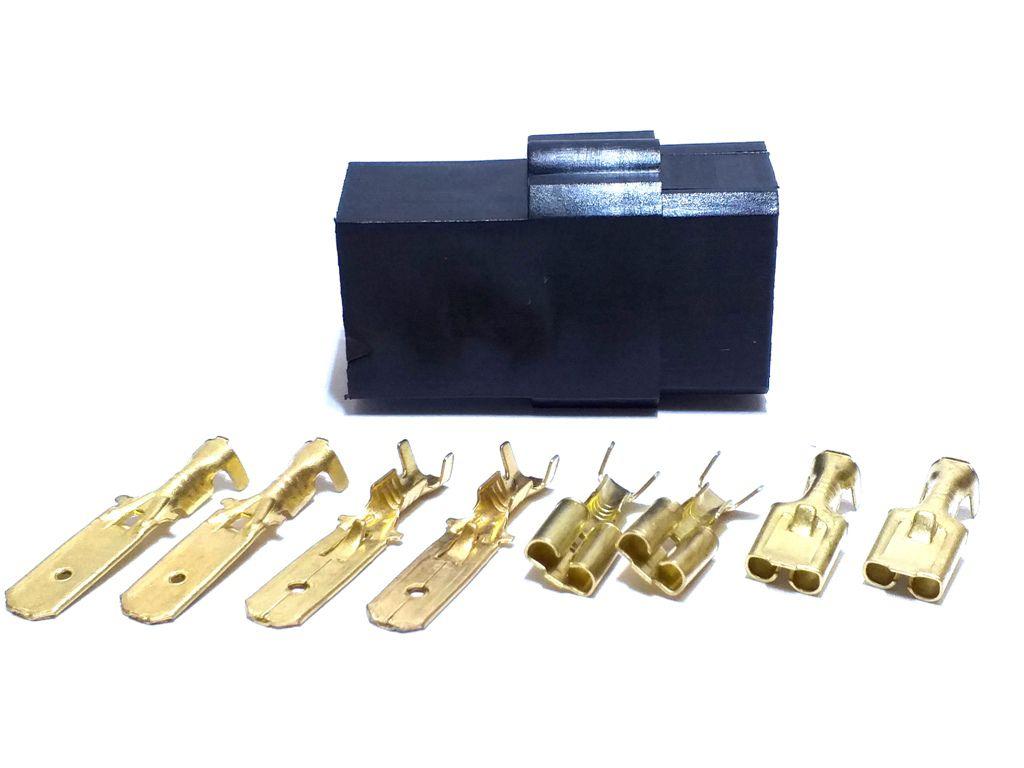 10 Conjunto Conector 4 Vias Preto Terminais de 6,3mm Plug