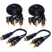 2 Cabo RCA 1,5 Metro mais 2 Y 2M1F para Processador de Áudio