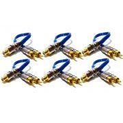 6 Cabo RCA Y Blindado 2M1F Plug Metal Banhado Ouro Crossover