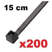 CINTA PLASTICA 15 CM - ABRAÇADEIRA NYLON PRETA 1,2 X 3,6 X 150 MM - 200 UNIDADES