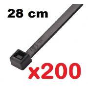 CINTA PLASTICA 28 CM - ABRAÇADEIRA NYLON PRETA 1,3 X 4,9 X 280 MM - 200 UNIDADES