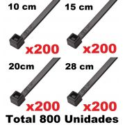 KIT CINTAS PLASTICA 10, 15, 20, 28 CM- ABRAÇADEIRA NYLON PRETA 800 UNIDADES - 200 DE CADA MODELO