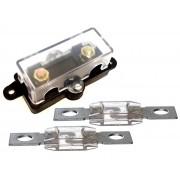 Porta Fusivel Mega Acrilico e 2 Fusíveis Mega de 150 Amperes