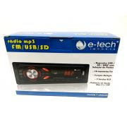 RADIO AUTOMOTIVO MP3 FM USB SD - AUTO-RÁDIO E-TECH LIGHT