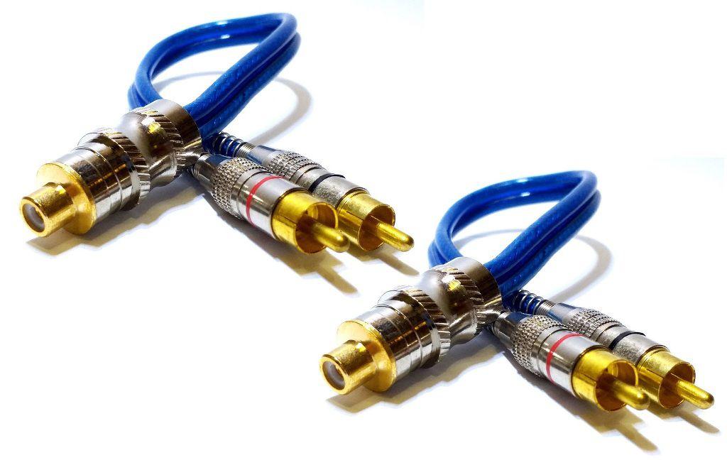 2 Cabo RCA Y Blindado 2M1F Plug Metal Som 2 MACHOS E 1 FÊMEA
