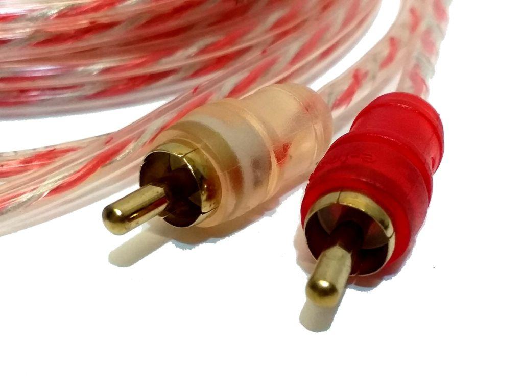 2 Cabos RCA 5 Metros mais 2 cabos Y 2M1F Cristal Injetado