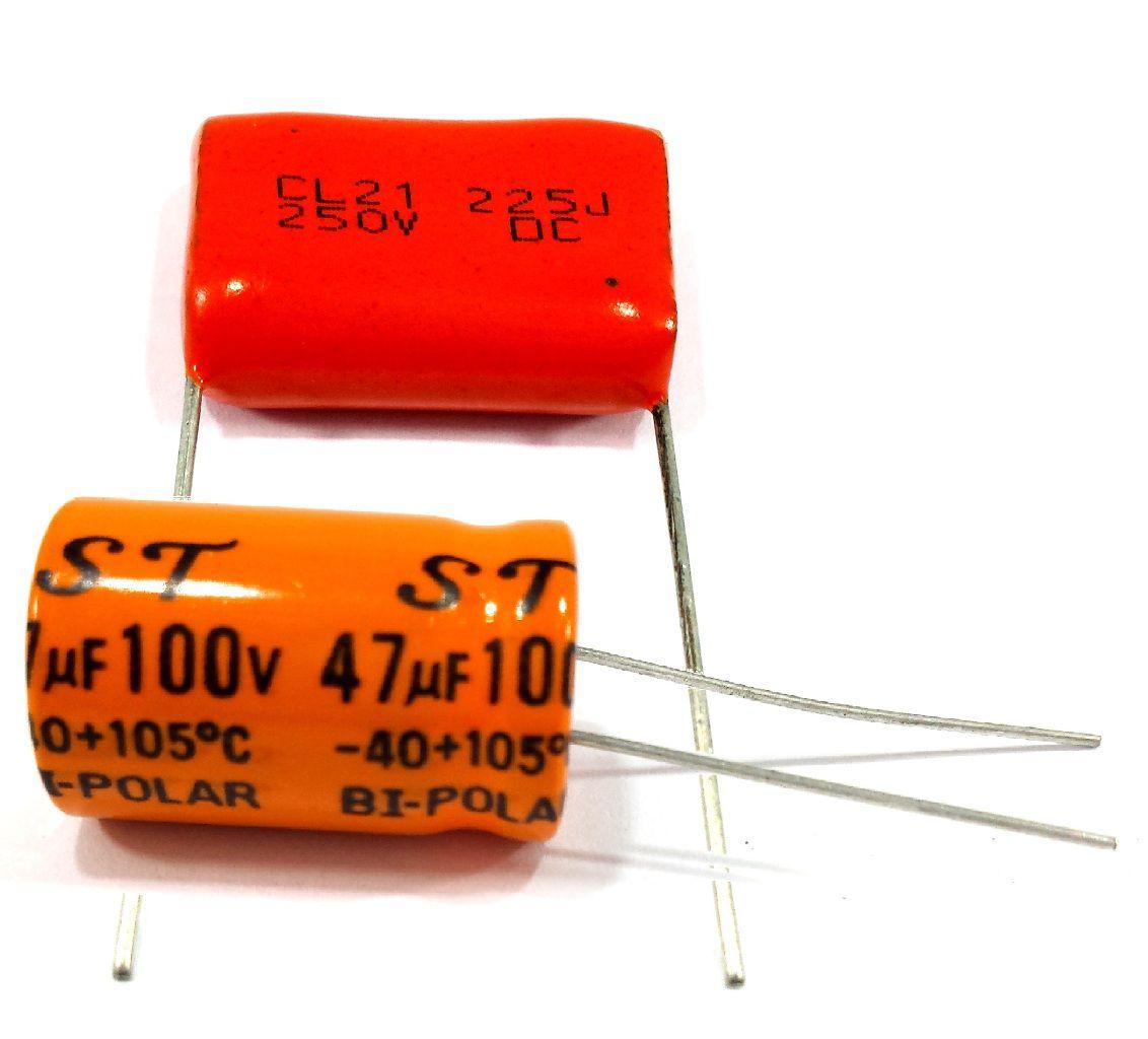 2 Capacitor Bipolar 47x100 e 2 Capacitor Poliester 2m2x250v