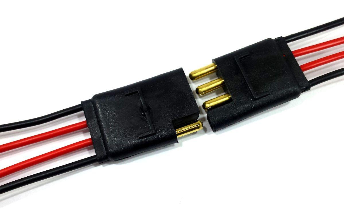 2 Conector 2 Vias e 2 Conector 4 Vias com Fio 1,5mm Chicote