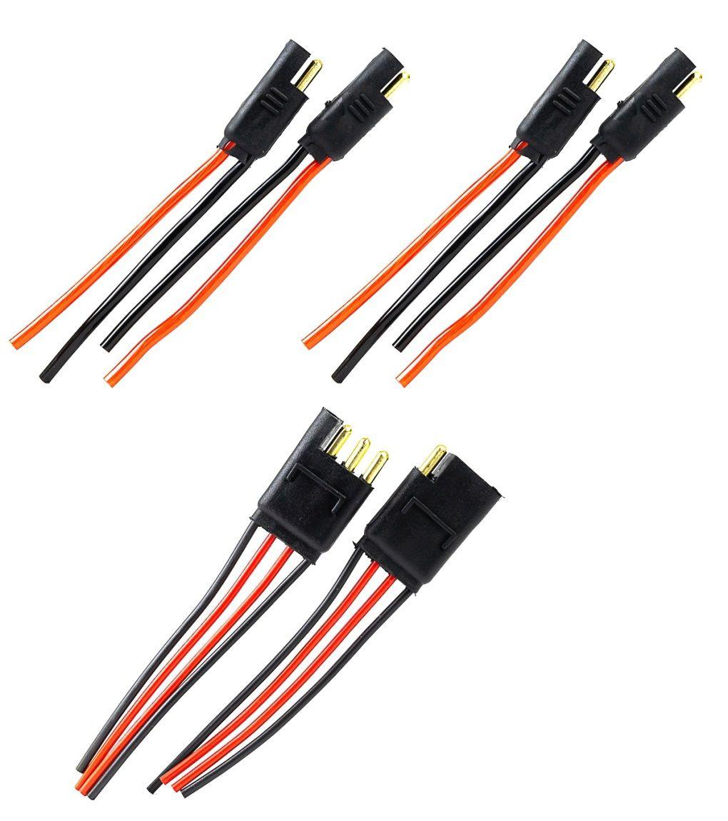 2 Conectores 2 Vias com Fio 4,0 mm e um 4 vias Fio de 1,5 mm