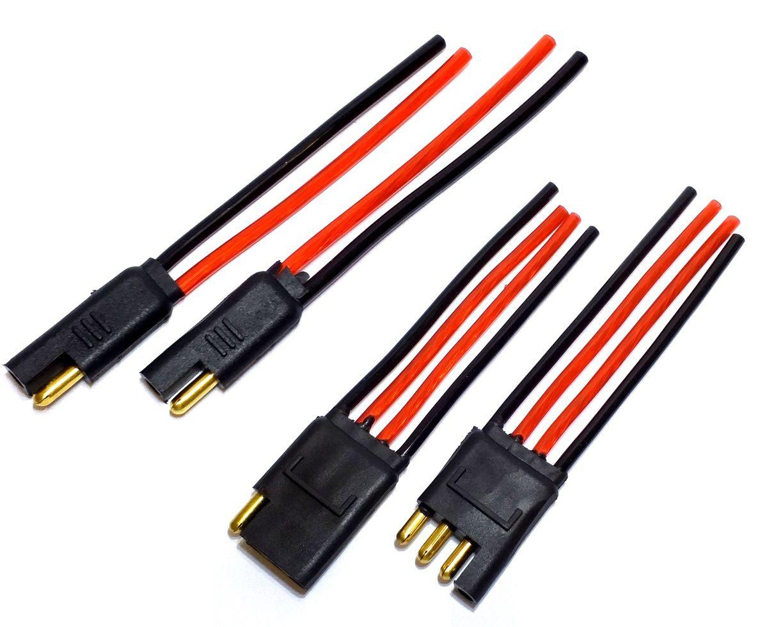 2 Conectores 2 Vias e 2 Conector 4 Vias com Fio 4,0 MM Plug