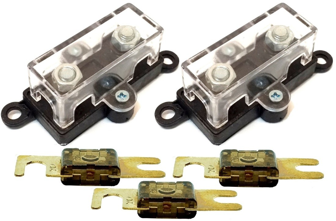 2 Porta Fusíveis Universal Acrílico Midi e 3 Fusível 70A