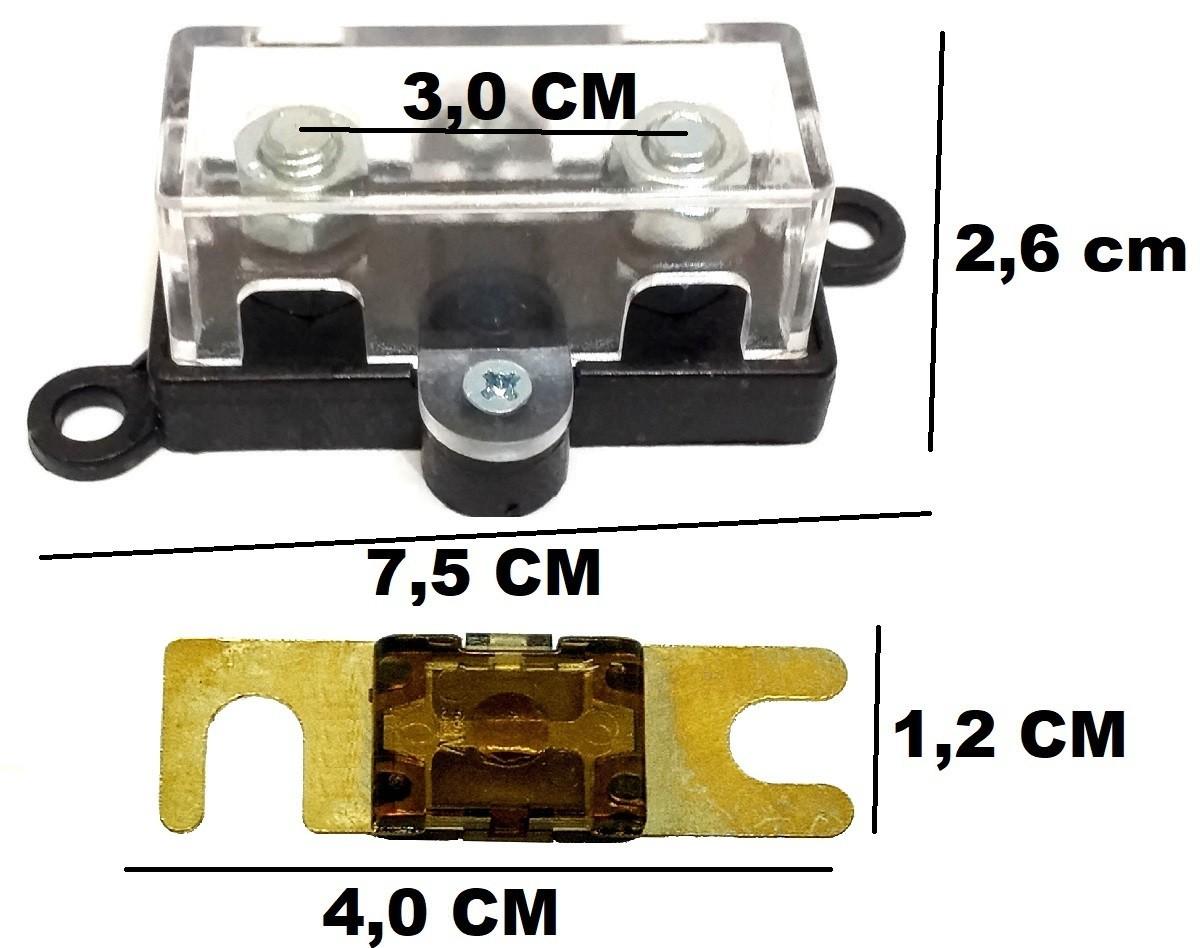 2 Porta Fusível Midi Som Automotivo e 2 Fusíveis 70 Amperes