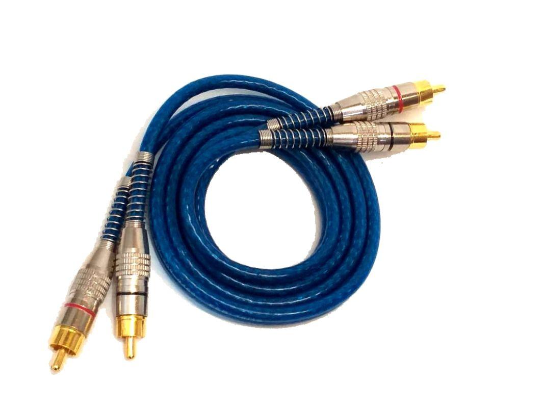 3 Cabo RCA Blindado 1M Crossover Amplificador Plug de Metal
