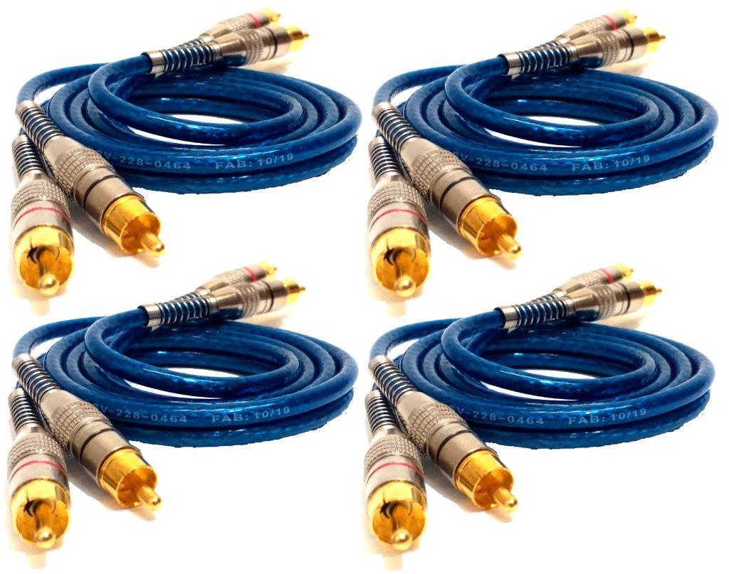 4 Cabo RCA Blindado 1M Banhado Ouro Crossover Amplificador